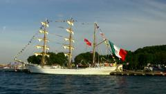 Tall ship. Large, traditionally-rigged sailing vessel. Stock Footage