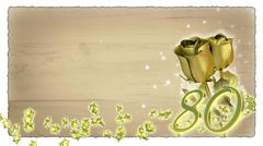 birthday concept with golden roses and star particles - 80th - stock illustration