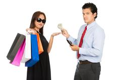 Asian Woman Shopper Accepting Money Husband At H Stock Photos