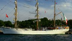 Sail Ship Cuauhtémoc starts her Istanbul visit Stock Footage