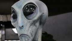 """Greys"" Alien life form body model display in UFO museum Roswell,NM Stock Footage"