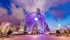4k hyperlapse video of skycrapers and ferris wheel in Hong Kong Stock Footage
