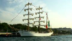Mexican Navy Sail Ship Cuauhtémoc Stock Footage
