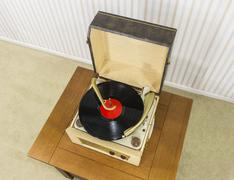 Old Record Player with Vintage Vinyl Disk Kuvituskuvat