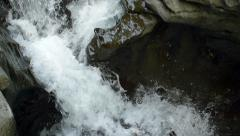 Pan Right Following Canyon River Waterfalls Slow Motion into Forest Stock Footage