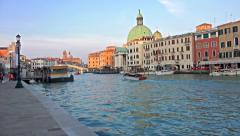 Tourist pov of public transportation on Canal Grande near San Simeone Piccolo - stock footage