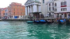 Tourist pov view of gondola on Canal Grande near San Simeone Piccolo church Stock Footage