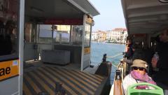 Tourist pov on waterbus vaporeto tour ride stopping - stock footage