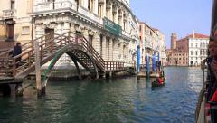 Waterbus tourist tour pov to vaporeto arriving at Ca'Rezzonico station Stock Footage