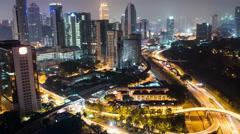 Time Lapse of Traffic & Skyline at Night Kuala Lumpur Malaysia Stock Footage