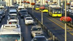 Istanbul top spot in traffic congestion index in 2014. Out of focus - stock footage