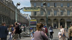 Metro Station entrance at the Louvre - Paris France - stock footage