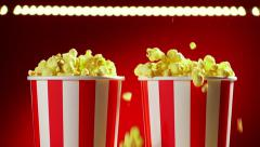 Bowls Filled With Popcorns For Movie Night Slowmotion 120p Stock Footage