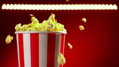 Bowl Filled With Popcorns For Movie Night Slowmotion 120p Stock Footage