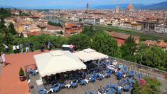 Aerial View and Panorama of Florence Cityscape in Tuscany, Italy Stock Footage