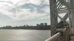 New York City Bridge Traffic, George Washington Bridge, GWB Stock Footage