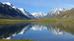 mountain landscape with lake in Altai, Russia, 4k - stock footage