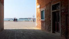 Tourist pov walk to Venice narrow street passage - stock footage