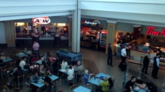 Top shot of food court at YVR airport Stock Footage