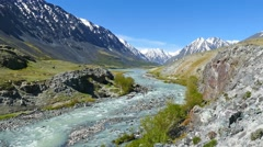 Mountain landscape with river in Altai, Russia, 4k Stock Footage
