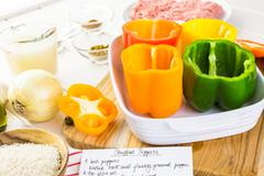 Low calorie stuffed peppers with ground turkey and white rice. Stock Photos