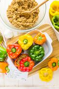Stock Photo of Low calorie stuffed peppers with ground turkey and white rice.