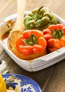 Low calorie chipotle beef & bean stuffed chile peppers. - stock photo