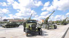 25-mm automatic anti-aircraft gun in 1940 on the basis of GAZ-AA. Pyshma, Stock Footage