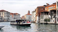 Timelapse of Venice Grand Canal traffic at daytime, gondola Stock Footage
