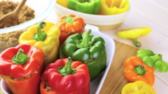 Low calorie stuffed peppers with ground turkey and white rice. Stock Footage