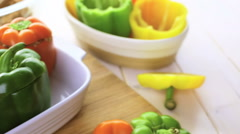 Low calorie stuffed peppers with ground turkey and white rice. - stock footage