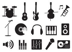 Music Instrument and Tools Icons Stock Illustration