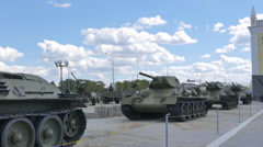 Older tanks. Part 2. Museum of military equipment, Pyshma, Ekaterinburg, Russia. Stock Footage