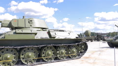The average tank T-34-76 mod. 1942. Pyshma, Ekaterinburg, Russia. 4K Stock Footage