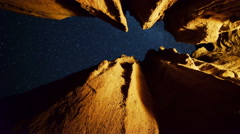 Astro Time Lapse of Stars through Keyhole Cave in Mojave Desert -Tilt Up- - stock footage