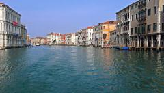 Tourist POV steadycam shot view from Venice public transportation waterbus on - stock footage