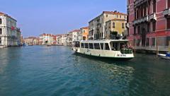 Venice waterbus vaporeto tour ride on Canal Grande Stock Footage