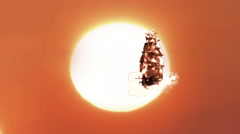 Stock Video Footage of Flying Pirate Sailboat From a Fairytale with Large Sunset Close Up, 4K