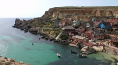 Malta island, tourist attraction colorful popeye village Stock Footage