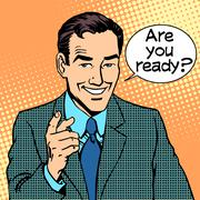 Are you ready businessman says Stock Illustration