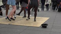 People audience enjoy step tap dancers perform. 4K Stock Footage