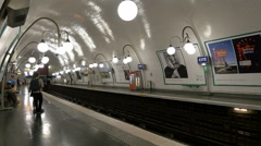 Train arrives at Paris Metro Station - Paris France Stock Footage