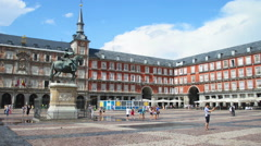 Plaza Mayor in Madrid Stock Footage