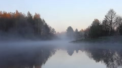 mist moves over the river, early morning, birdsong, Russia, river Polya - stock footage