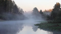 white fog rises over the river in early morning, birdsong, Russia, river Polya - stock footage