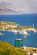 Split harbor and Biokovo mountain view - stock photo
