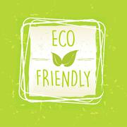 Eco friendly with leaf sign in frame over green old paper background Stock Illustration