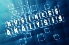 Business analysis in blue glass cubes Stock Illustration