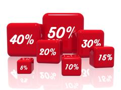 different percentages in red - stock illustration