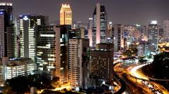 Time Lapse Kuala Lumpur Evening Skyline with Traffic  - Malaysia Stock Footage